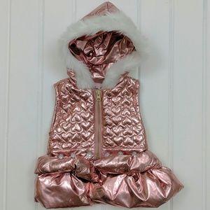 Little Lass Metallic Puffer Hooded vest